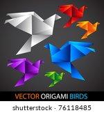 colorful origami birds - stock vector