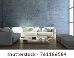 modern bright interiors. 3d... | Shutterstock . vector #761186584