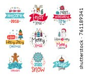 vector poster collection with... | Shutterstock .eps vector #761189341