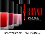nail salon poster. colorful... | Shutterstock .eps vector #761193589