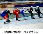 women skaters in mass start...   Shutterstock . vector #761195317
