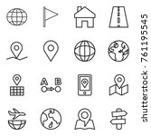 thin line icon set   globe ... | Shutterstock .eps vector #761195545