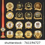 luxury retro badges gold and... | Shutterstock .eps vector #761196727