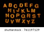 gold capital letters. metallic... | Shutterstock . vector #761197129