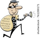 a cartoon of a thief with a... | Shutterstock .eps vector #761200171