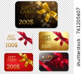 gift card with bows big set | Shutterstock . vector #761205607
