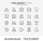 Thin Line Icons Set Of Academi...