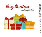 christmas gifts winter holiday... | Shutterstock .eps vector #761218231