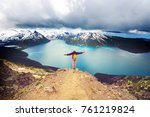 hike to turquoise waters of... | Shutterstock . vector #761219824