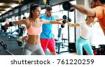 beautiful women working out in... | Shutterstock . vector #761220259