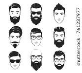 set of  bearded hipster men... | Shutterstock . vector #761237977