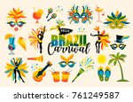 brazilian carnival. big set of... | Shutterstock .eps vector #761249587