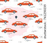 pattern with cars and map of... | Shutterstock .eps vector #761250235