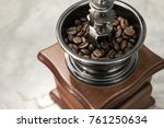 vintage manual coffee grinder... | Shutterstock . vector #761250634