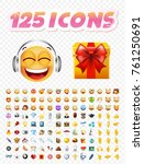 set of realistic cute icons on... | Shutterstock .eps vector #761250691