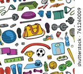 sport equipment.hand drawn... | Shutterstock .eps vector #761260009