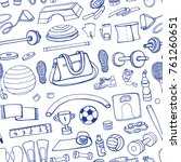 sport equipment.hand drawn... | Shutterstock .eps vector #761260651
