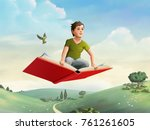children flying on an open book ... | Shutterstock . vector #761261605