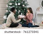 african american man gives a...   Shutterstock . vector #761273341