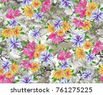 flower pattern with background | Shutterstock . vector #761275225