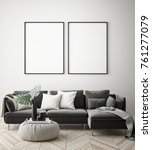 mock up poster frames in... | Shutterstock . vector #761277079