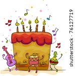 Illustration of a Birthday Cake with a Musical Theme - stock vector