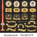 luxury retro badges gold and... | Shutterstock .eps vector #761281579