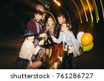 group of happy friends going on ... | Shutterstock . vector #761286727