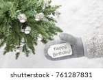 christmas tree  glove  text... | Shutterstock . vector #761287831