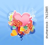 love heart / valentine's or wedding /  vector illustration  The layers are included - stock vector