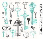 vector set of hand drawn... | Shutterstock .eps vector #761297581