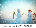 christmas new year snow concept ... | Shutterstock . vector #761305831