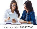 portrait of doctor and her... | Shutterstock . vector #761307865