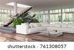 modern bright interiors. 3d... | Shutterstock . vector #761308057