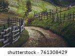 dirt road and rustic wooden... | Shutterstock . vector #761308429