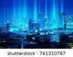 abstract light beam over night... | Shutterstock . vector #761310787