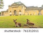 two wild deer sitting on the... | Shutterstock . vector #761312011