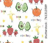 hand drawn cute fruits. vector...   Shutterstock .eps vector #761313589