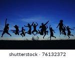 silhouette jumping team | Shutterstock . vector #76132372