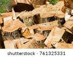 wooden logs close up in... | Shutterstock . vector #761325331