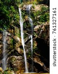 huge waterfall with figure for... | Shutterstock . vector #761327161