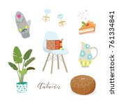 hand drawn cute objects ... | Shutterstock .eps vector #761334841