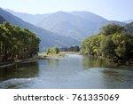 beautiful scenery with a river  ... | Shutterstock . vector #761335069