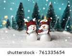 Two Cheerful Snowman Standing...
