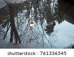 winter trees reflecting ... | Shutterstock . vector #761336545