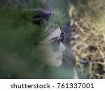 portrait of a thoughtful woman... | Shutterstock . vector #761337001
