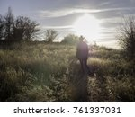 young woman and her dog taking... | Shutterstock . vector #761337031