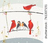 cute winter birds of backyard.... | Shutterstock .eps vector #761337151