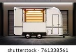 white food truck on street of... | Shutterstock . vector #761338561