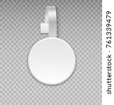 wobbler mockup with transparent ... | Shutterstock .eps vector #761339479